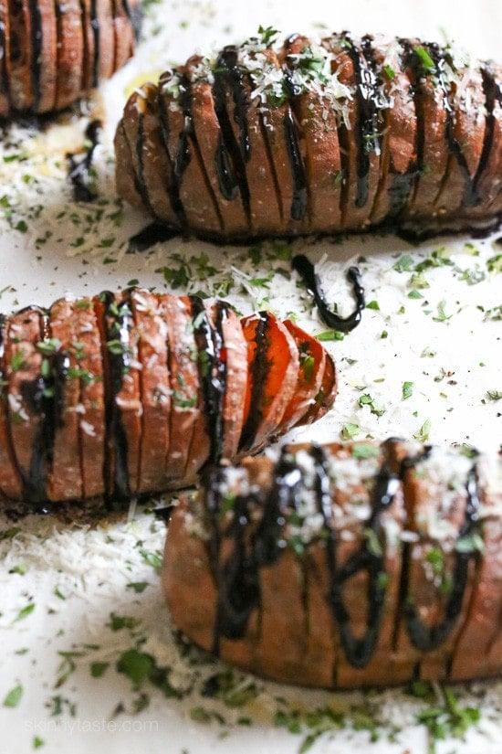 Parmesan Hasselback Sweet Potatoes with Balsamic Glaze