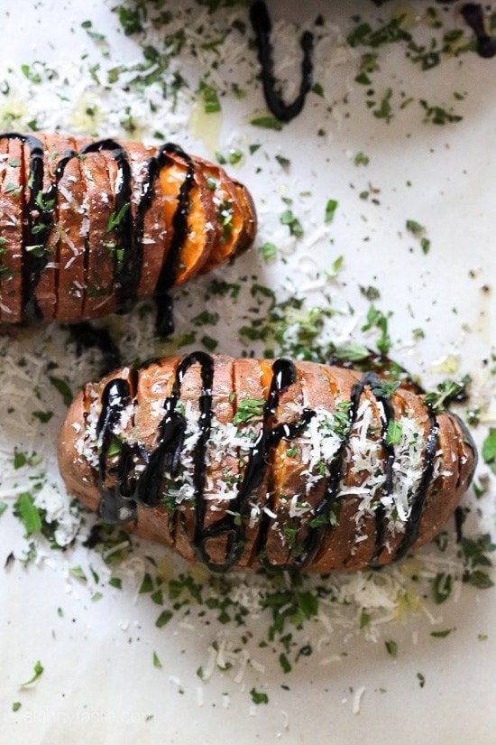 Parmesan Hasselback Sweet Potatoes with Balsamic Glaze