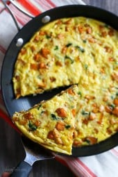When I had the idea of using leftover turkey and sweet potato in a fritatta, I had no idea just how good this would turn out! In fact, I would make turkey again, just to make this frittata.