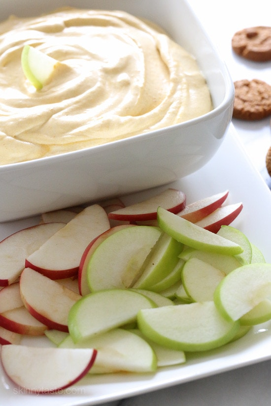Everything you love about pumpkin pie, made into a easy, light and fluffy no bake dip. Perfect for dipping apple wedges, graham crackers or gingersnaps.
