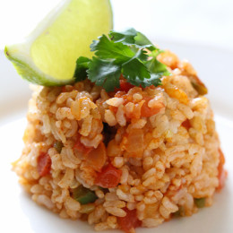 This quick Mexican brown rice is super healthy and easy to make.