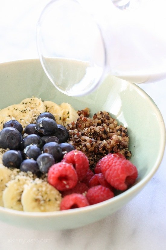 A healthy breakfast bowl packed with protein, antioxidants, vitamins, nutrients and fiber. These are easy to make and a great way to get your daily intake of fruit. You can make the quinoa ahead and keep it refrigerated (or frozen) for when you're ready to eat for a quick breakfast on the go!