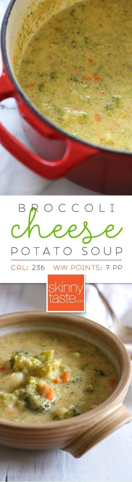 This thick and creamy broccoli, cheese and potato soup is lick-the-bowl good! Pure comfort in a bowl, a one-pot meal your whole family will love and ready in under 30 minutes.