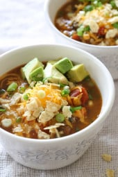 Break out your soup pot, you'll want to make a batch of this delicious, hearty meatless vegetarian pumpkin chili today! Packed with vegetables, beans, pumpkin puree, beans and tons of flavor, then served with cheese, tortillas, avocado and all the yummy toppings.