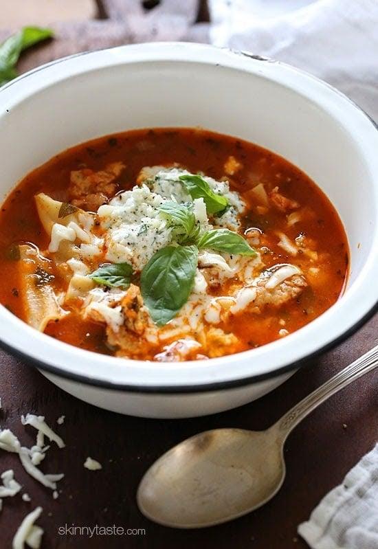 Top 25 Most Popular Skinnytaste Recipes 2015 –Lasagna Soup #1