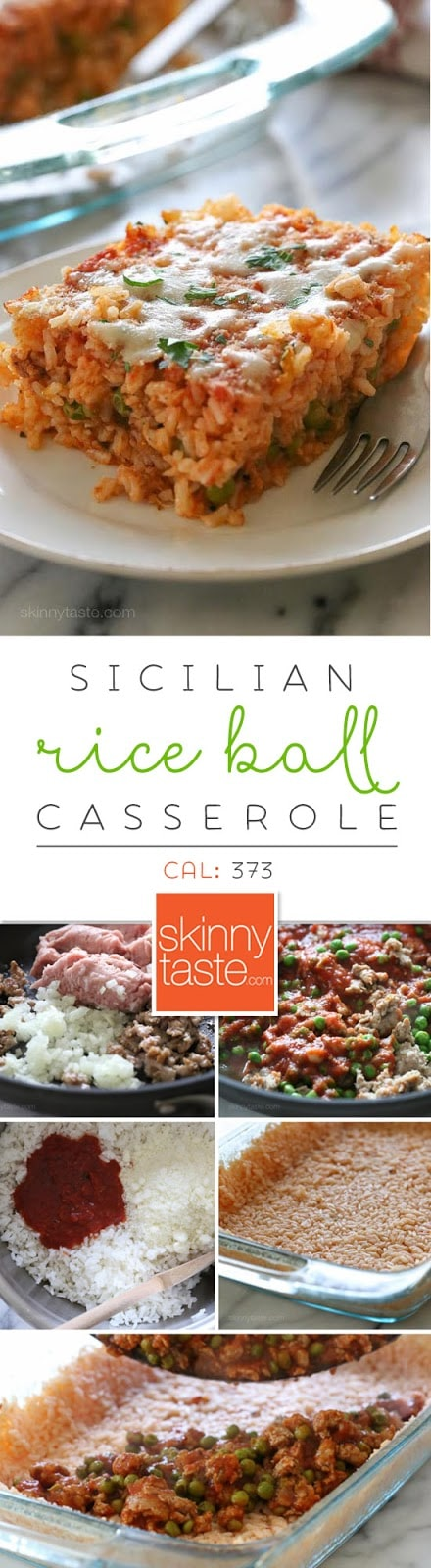 Sicilian Rice Ball Casserole filled with ground turkey and a little sausage adds lots of flavor, plus peas and sauce. Freezes well, great for potlucks and family friendly!