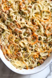 Spiralized turnips, carrots and potatoes baked with turkey in a light cream sauce finished with grated Gruyere cheese – a dish worthy for your Holiday table.