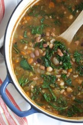 Made with a 16 bean soup mix (if yours comes with a flavor packet you'll want to discard it) plus smoked ham, vegetables, fresh herbs and kale. You'll want to soak the beans overnight, then discard the water the next day before cooking.