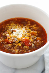 My family DEVOURED this delicious bowl of soup made with ground beef, tomatoes, and tiny pasta. It's warm and comforting, like a great big hug on a cold winter day. Kid-friendly, freezer-friendly!