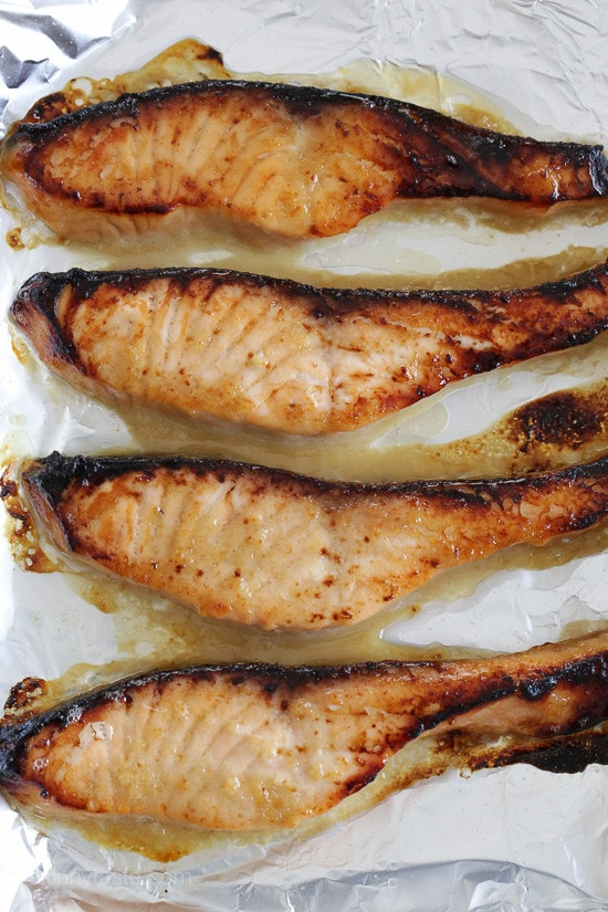 Broiled Miso Salmon –perfectly charred on the edges with crisp skin and the EASY 3-ingredient miso marinade is to die for! Smart Points: 4 Calories: 189