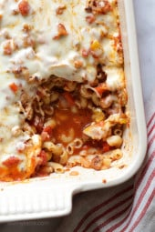 Chicken sausage, bell peppers, onions and mushrooms simmered in a marinara sauce then baked in the casserole with whole wheat macaroni topped with mozzarella.