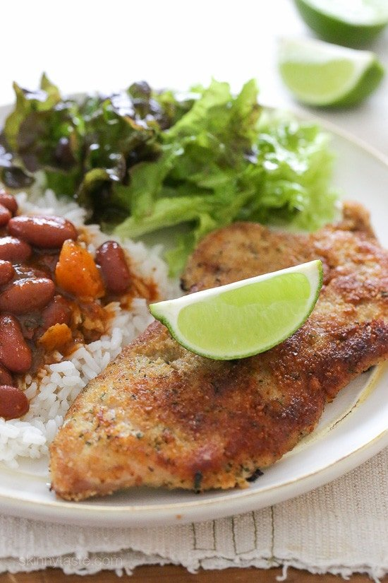 Breaded Pork Cutlets with Lime – lightly pan fried, easy to make, and very family friendly! Smart Points: 7 Calories: 216