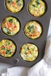 These easy, mini baked omelets are perfect to make ahead for the week. These muffins are inspired by my recent vacation to Beaches in Ochos Rios Jamaica. Every morning I would get an omelet with fresh fruit. The chef at the omelet station had all his ingredients prepped and quickly whipped up hundreds of omelets each morning to order. I used some of my favorite omelet ingredients but you can switch it up and add whatever you like or have on hand.