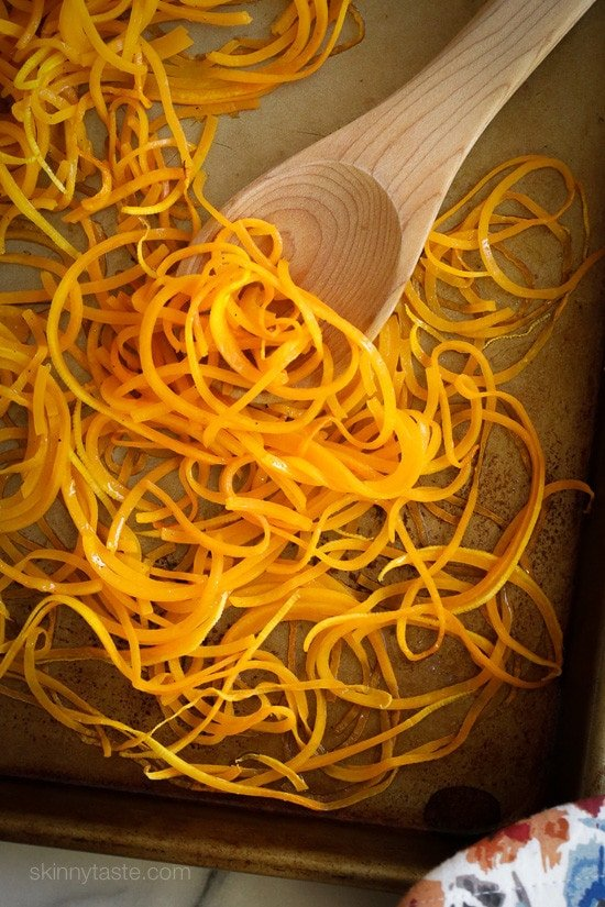 Roasted Spiralized Butternut Squash Noodles are a healthy pasta alternative or side dish that only takes about 10 minutes to roast in the oven.
