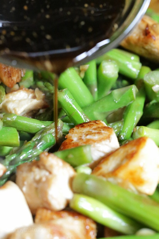 Chicken Asparagus Stir-Fry in Light Teriyaki Sauce