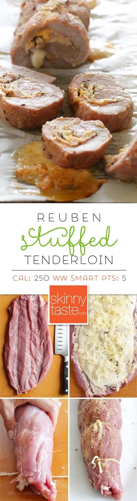 Rueben Stuffed Pork Tenderloin – inspired from the ingredients used in a Rueben sandwich, I stuffed a lean pork tenderloin with pastrami, Swiss cheese, sauerkraut, and Thousand Island dressing. Weight Watchers Smart Points: 5  Calories: 250