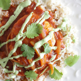 A quick Mexican-inspired chicken dish, made in the skillet with a smoky-spicy tomato-chipotle sauce topped with an avocado-sour cream sauce.