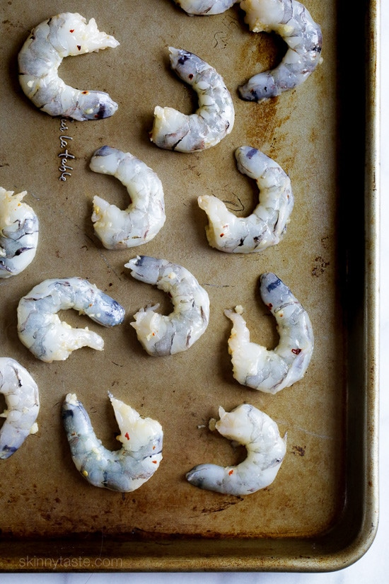 One of the quickest and easiest ways to prepare shrimp is to roast them in the oven and simply drizzle with some olive oil, garlic and fresh lemon juice.