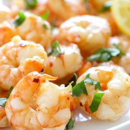 One of the quickest and easiest ways to prepare shrimp is to roast them in the oven (great for shrimp cocktail too!) You can prepare them so many different ways, but one of the simplest is with a drizzle of olive oil, garlic and fresh lemon juice. Serve it with roasted asparagus, over pasta, or over your favorite salad.