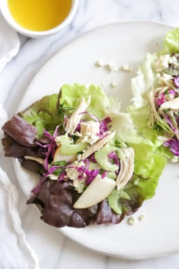 A lighter take on the classic Waldorf Chicken Salad served in lettuce leaves so you can eat them with your hands instead of a fork!