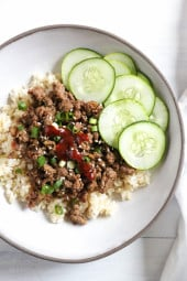Korean Beef Rice Bowls takes about 20 minutes to whip up, so quick and easy, loaded with flavor for under 400 calories!