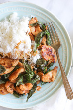 This simple Thai dish, known as Pad Grapow, is insanely quick and inexpensive to make. It's light, yet flavorful with lots of heat and tons of basil.