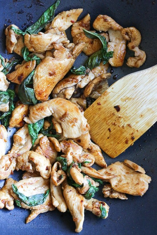 Thai basil chicken recipe skinnytaste thai basil chicken a quick and easy chicken stir fry dish forumfinder Images