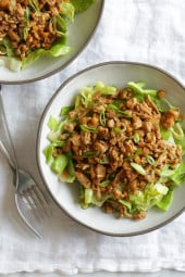 You know those yummy Asian Chicken Lettuce wraps often served as appetizers? Well this one is served over a big chopped salad! So tasty, and a great way to take an appetizer and turn it into a main dish salad!