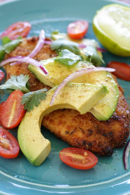 Baked Chicken Cutlets with Deconstructed Guacamole
