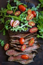 This Grilled Balsamic Steak with Tomatoes and Arugula is an easy weeknight dinner solution –marinate the steak overnight with balsamic vinegar and fresh herbs, then fire up the grill and serve with a simple tossed arugula-tomato salad, on the table in less than 20 minutes!