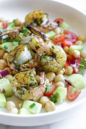 North African Spiced Grilled Shrimp and Chickpea Salad