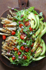 Rosemary Chicken Salad with Avocado and Bacon on a board