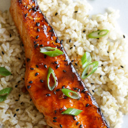 This quick and easy Korean-inspired salmon dish is cooked in the broiler, perfect for weeknight cooking because it takes less than 10 minutes to cook. The glaze is so tasty it would be great with other types of fish as well.