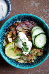 An easy, grilled chicken version of the classic Turkish street food which is usually cooked on a rotating spit. It is perfect served over couscous with yogurt and cucumbers as I did here, or try it with rice pilaf, or on a pita. Other sides that would work are tomatoes, tahini, olives, feta, or hummus. Harissa would also work great to add some spice!