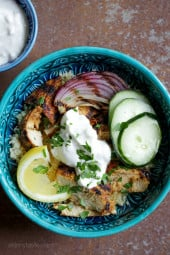 Shawarma-Spiced Grilled Chicken with Garlic Yogurt – an easy, grilled chicken version of the classic Turkish street food which is usually cooked on a rotating spit.
