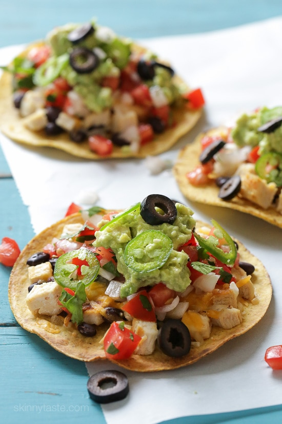 These Loaded Chicken Nacho Tostadas are a great way to take a popular appetizer and turn it into a main dish.