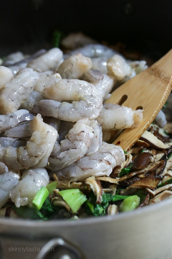 garlicky shrimp stir-fry with shiitakes and bok choy-3