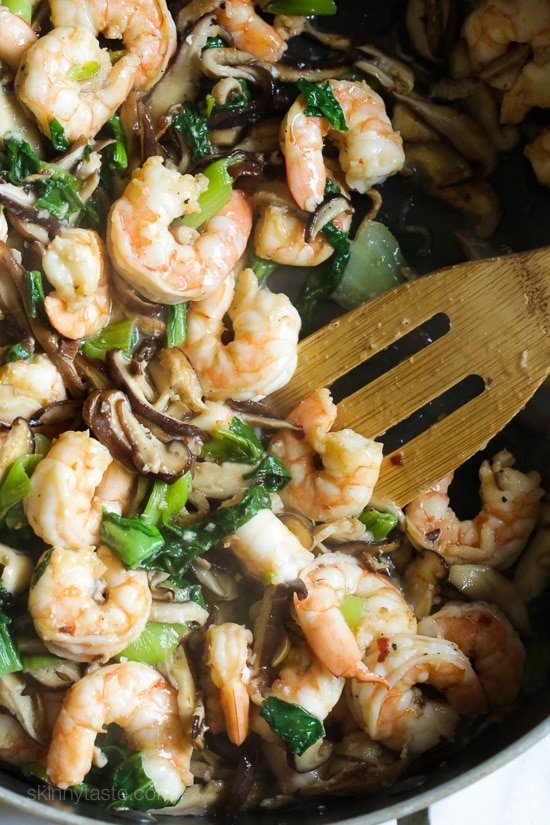 garlicky shrimp stir-fry with shiitakes and bok choy-8