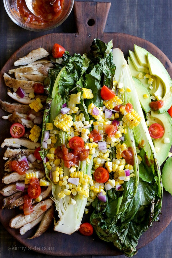 Grilled Romaine, Corn and Chicken Salad with Salsa