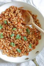 This Mexican inspired dish of Cauliflower Rice uses finely chopped cauliflower, which makes a fantastic low-carb, grain-free stand in for rice.