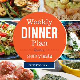 A healthy week of dinners planned in the Skinnytaste Meal Planner. Week 32