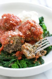 Oh my word, these meatballs are SO good!! I love broccoli rabe and thought it would be awesome in my Sunday meatballs, and I was right! These meatballs are tender and flavorful, conveniently made in the slow cooker. #BroccoliRabe