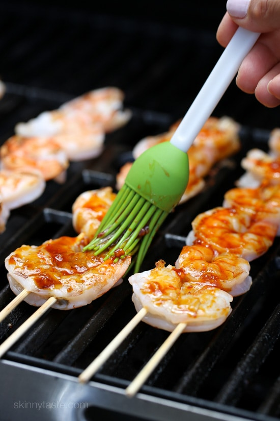 Sweet and spicy Korean-inspired Gochujang-Honey Glazed Shrimp Skewers are perfect for weeknight cooking because they take less than 10 minutes to cook.