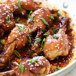 These skinless chicken drumsticks sweet and sticky, and so delicious! Cooked in a skillet with honey, soy sauce, garlic and ginger until the chicken is tender and the sauce thickens. You won't miss the skin!