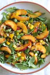 Peaches are so ripe and juicy right now, the perfect time to make this easy, delicious salad you can whip up in minutes!