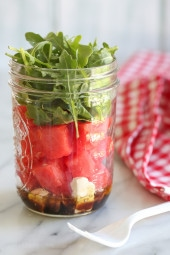 One of my favorite summer salad combinations is watermelon with feta, balsamic, red onion and arugula. It's so refreshing and light, and perfect to make in jars to take to the beach or park (I keep them chilled in cooler).