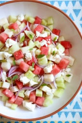 This Watermelon, Jicama and Cucumber Salad is light and refreshing for a hot summer day. A great side for just about anything you put on the grill!