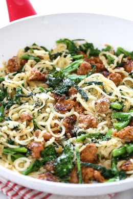 Broccoli rabe and spicy sausage are one of my favorite pasta dishes; this spiralized version made with parsnips in place of pasta for a hefty serving of veggies won't disappoint! If you don't like the bitterness of broccoli rabe, broccolini or broccoli would also work in it's place.