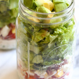 Cobb Salad in a Jar with Buttermilk Ranch is the perfect lunch recipe to make ahead and eat when you're on the go!