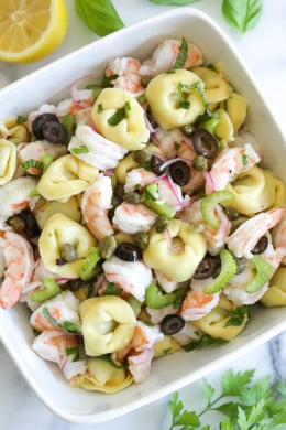 This light shrimp and tortellini salad can be served as a side or main dish, perfect for summer potlucks or pool parties, or anytime you need a pasta salad that isn't weighed down with mayo.